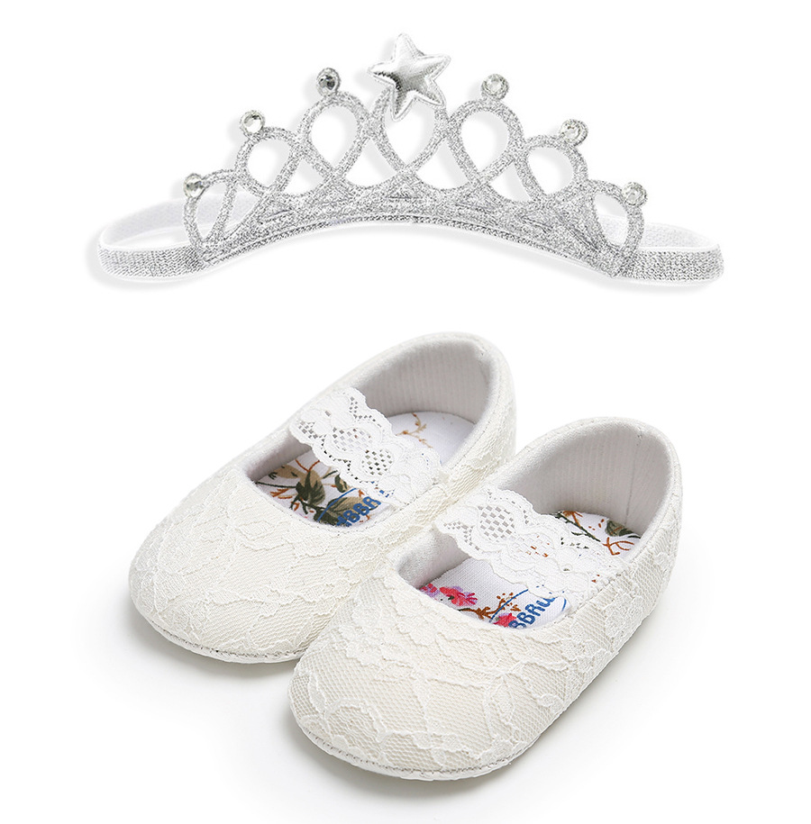 Crown Headband Baby Shoes Flowers Newborn Baby Girl Baptism Shoes Flowers Princess First Walker Baby Girl Christening Shoes