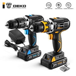 DEKO GCD20DU3 destornillador eléctrico sin cuerda taladro del impacto taladro conductor 20 voltios Max DC Litio-Ion 13 MM 2 velocidad