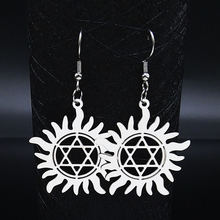 Женские сережки из нержавеющей стали с гексаграммой серебристые