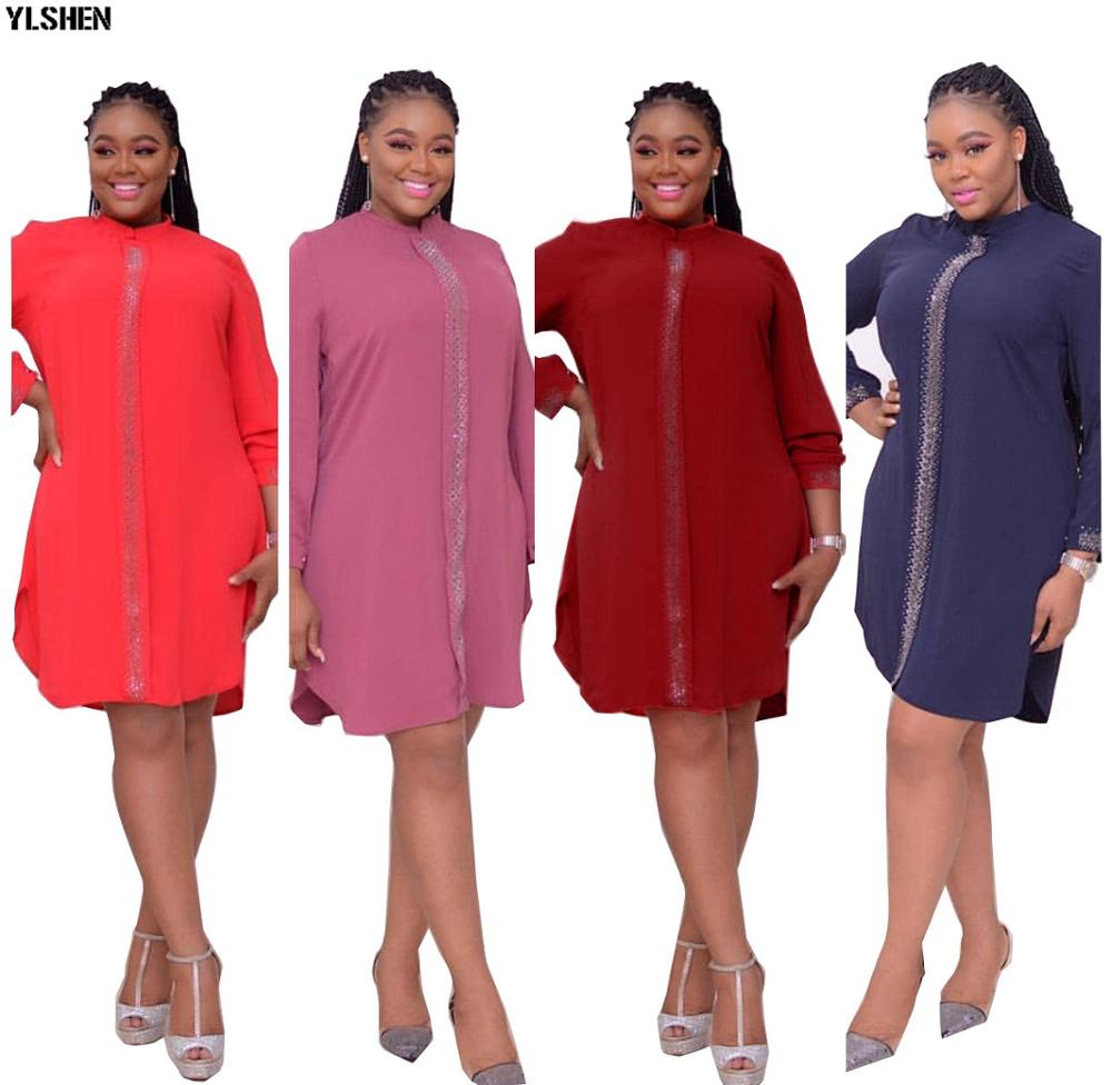 Plus Size African Dresses For Women Dashiki Diamond Africa Dress African Clothes Bazin Broder Riche Long Sleeve Robe Africaine