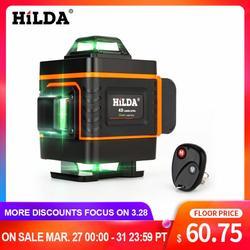 HILDA 16 линий 4D лазерный уровень перекрестная линия зеленый лазерный уровень самонивелирующийся Многофункциональный Уровень лазерный гориз...