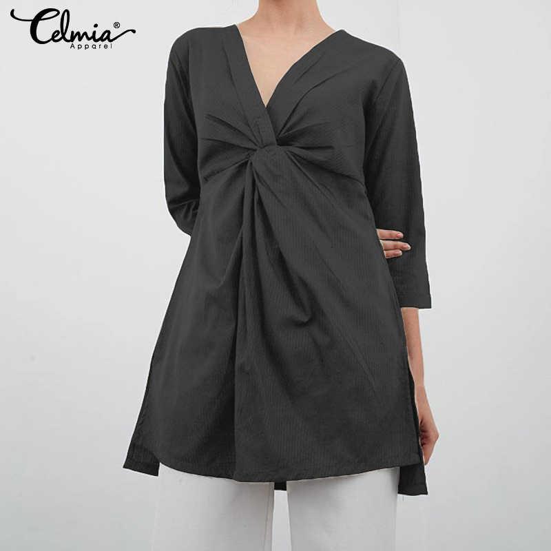 Женские блузки cellumia, лето 2019, асимметричные топы, раздельная туника, рубашки, повседневные, свободные, плиссированные, длинные, Blusas Mujer размера плюс