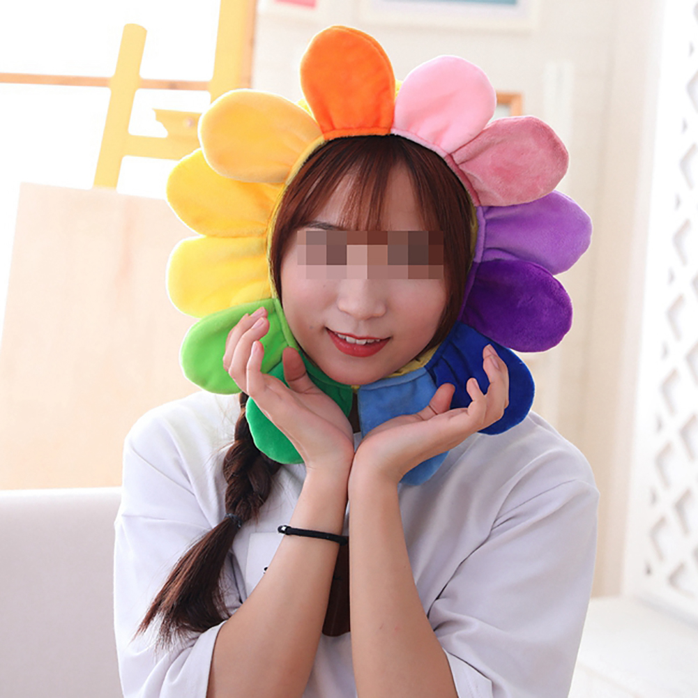 Creative Sun Flower Headgear Staffed Soft Cap Funny Plush Toys For Kids Girls Lovely Christmas Gift Party Dolls