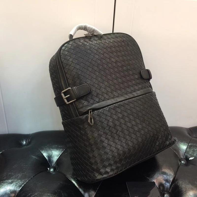 Kaisiludi duplex couro tecido bolsa de viagem camada superior pneu mochila de couro senhoras casal pacote sacos de computador volumoso - 4