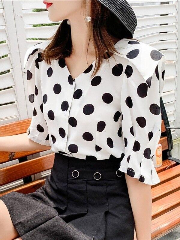 Chemise à manches courtes femmes été 2019 nouveau Style style coréen mode élégant à pois hauts polyvalent décontracté minceur chemise Fa