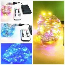 Muticolor Remote Control Copper Wire String Light Starry Festival LED String Waterproof Decorative Copper Wire Lamp Home Tools