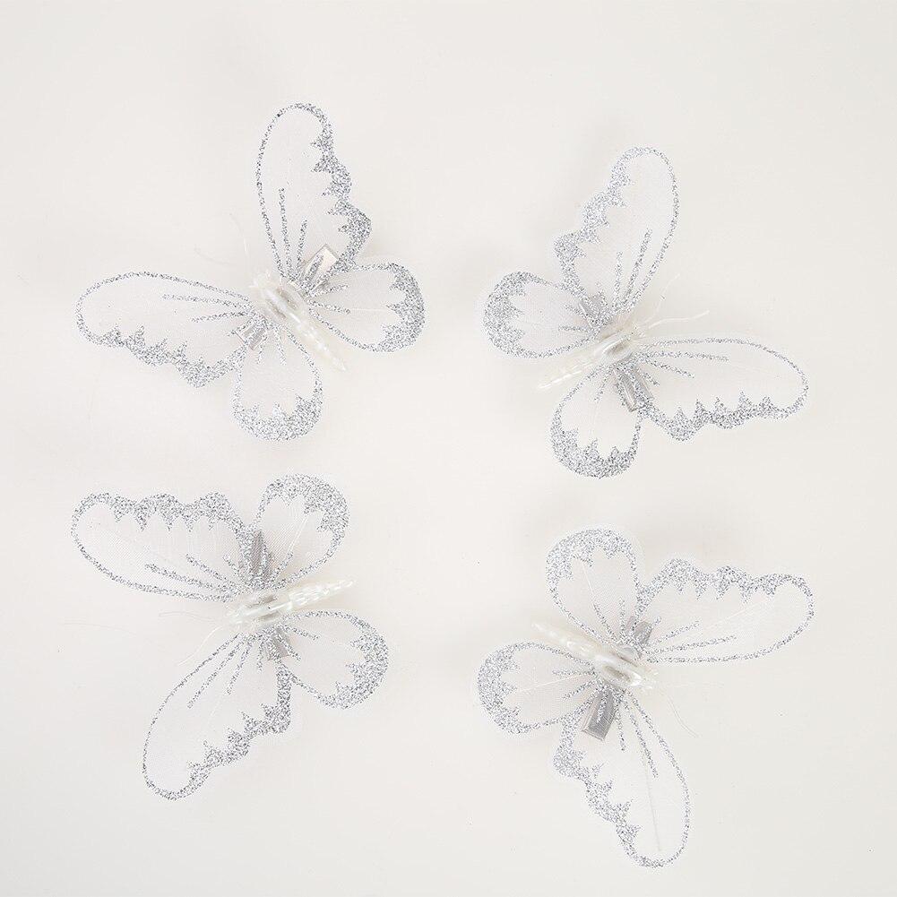 12 adet yılbaşı ağacı kelebek şekli klip kolye bebek klip ev yeni yıl dekorları festivali malzemeleri beyaz