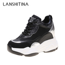 2019 Autumn Women Sneakers Mesh High Platform Trainers White Shoes 9CM Heels Wedges Casual Breathable Woman Chunky