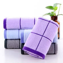 Simple and generous Plaid natural cotton towel high quality thickened soft absorbent towel adult pure cotton face washing towel
