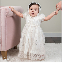 New born Baby Girl Baptism Dress White First Birthday Party Dress for Boy Lace Tulle Jacket Infant Dresses for 3 6 9 12 18 Month 2017 custom for baby girls baptism dress infant girls birthday gown flower lace applique christening dress 3 6 9 15 18 24 month