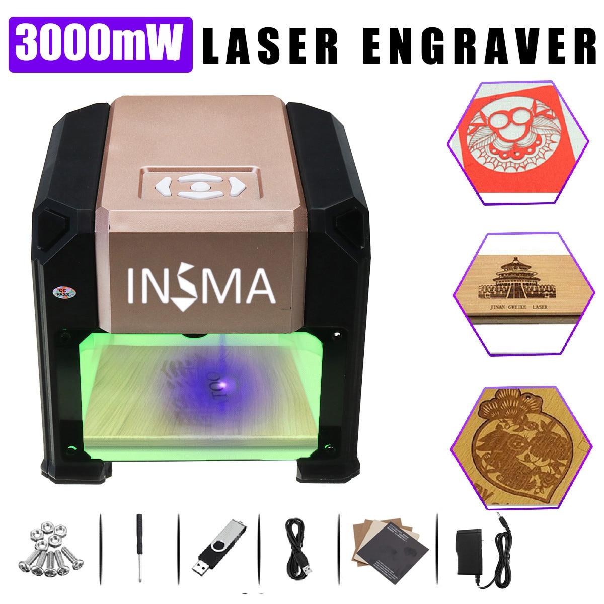 3000mW Desktop Laser Engraving Machine USB DIY Logo CNC Laser Engraver Printer With Heart Wooden Board