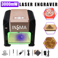 3000mW Desktop Laser Engraving Machine USB DIY Logo CNC Laser Engraver Printer With Heart Wooden Board