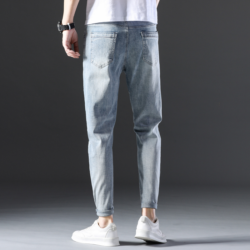 KSTUN Famous Brand Jeans Men White Blue Stretch Relaxed Tapered Pants Leisure Full Length Trousers Good Quality Jeans Male Homme 17