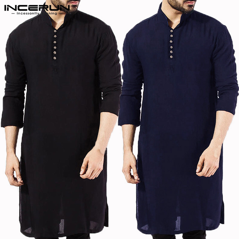 INCERUN Casual Men Shirt Cotton Long Sleeve Stand Collar Vintage Solid Stitched Long Tops Indian Clothing Pakistani Shirt 5XL