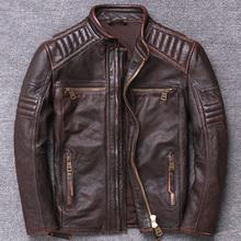 Nowa męska kurtka ze skóry wołowej wąska krótka kurtka Retro Biker Pocket Design kurtka motocyklowa moda brązowa skórzana kurtka tanie tanio LINAILIN STANDARD Skóra i zamszowe NONE COTTON Kieszenie Zamki vintage Stałe Krótki yxm0508-3 Szczupła Skóra bydlęca