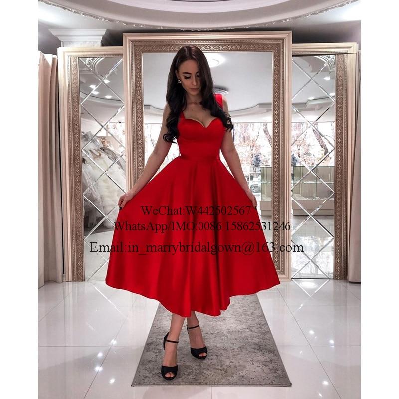Plus Size Red Short 1950s Prom Dresses 2020 A Line Tea Length Cheap Simple Satin Formal Engagement vestidos de fiesta largos