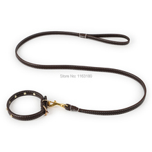 12pcs / Lot  PU Leather Dog Collar Leash Set Collar Necklace Pet Walking Lead for Puppy Medium Dog