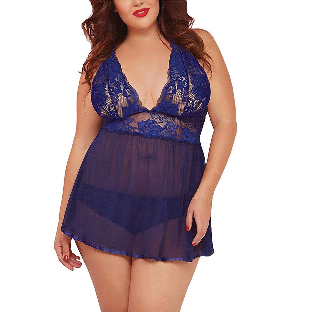 H27a6792df94c49ab8bf529db9df76be2e Conjunto de ropa interior Sexy para mujer, lencería de talla grande con espalda abierta, picardías de encaje, ropa de dormir erótica
