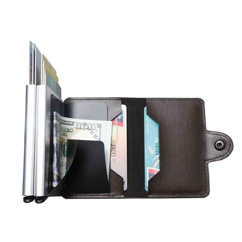 2019 nuevo doble capas Anti RFID de cuero de los hombres titular de la tarjeta de crédito de tarjeta de identificación de caso aluminio tarjeta con protección de viaje cartera