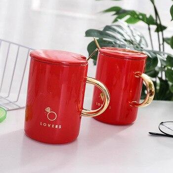 """""""Amantes rojos"""" moderna hermosa Taza de cerámica con tapa cuchara té leche café tazas novia bebedería agua"""