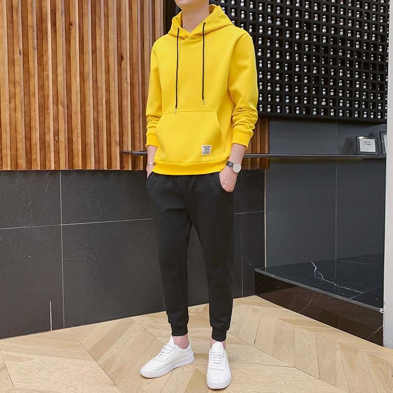 2020 New Style Solid Color Empty Board Casual Hoodie Set Men's Trend Sports Hoodie Korean-style Trend Two-Piece Set