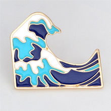 Blue Waves Bros untuk Jaket Mantel Tas Pin Lencana Enamel Pin Gesper Kartun Logam Bros(China)