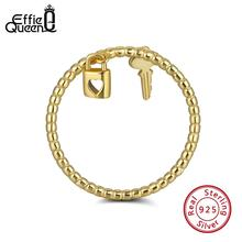 Effie Queen 925 Sterling Silver Lock Key Chain Lover Ring Women Korean Wedding Bands Anniversary jewelry Gift Wholesale TSR104