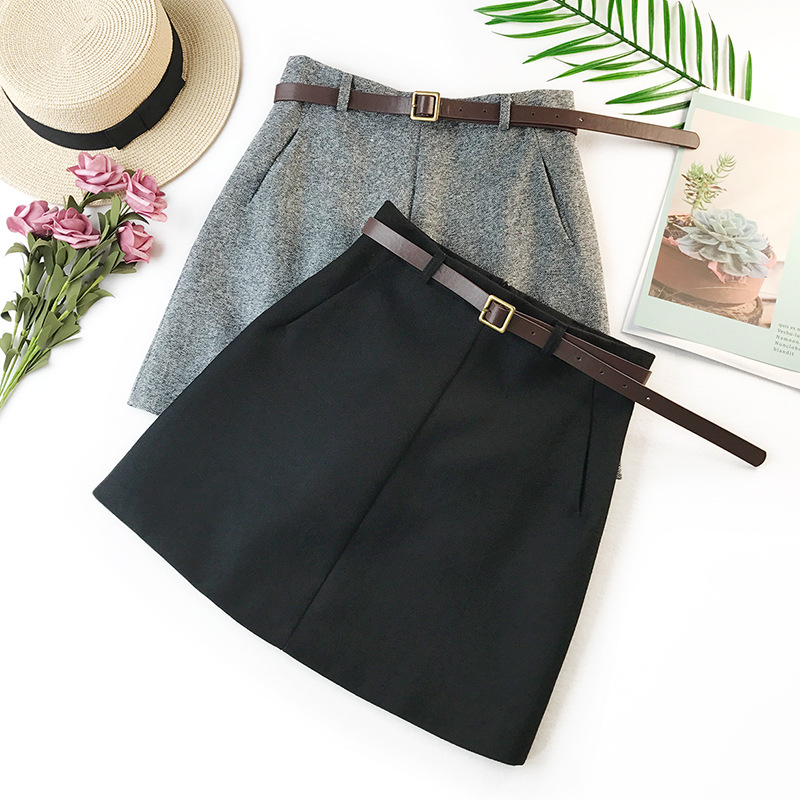 2020 Spring Summer New Arrival Vintage Quality Temperament High Waist A-line Office Skirts Womens With Belt Woolen Mini Skirt