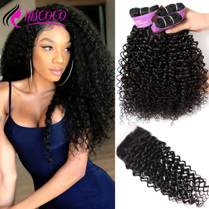 Mscoco Hair Curly Bundles With Closure Remy Human Hair Bundles With Closure Brazilian Hair Weave 3 Bundles With Closure(China)