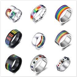 1 шт Новые мужские женские радужные цветные ЛГБТ кольца из нержавеющей стали обручальные кольца Lebian & Gay