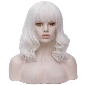 Image 3 - Yiyaobess 35CM גלי פאה קצרה אדום שחור לבן בלונד ירוק ורוד סינטטי שיער ליל כל הקדושים תלבושות אישה קוספליי פאות עם פוני