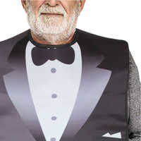Waterproof  Reusable Washable Adult Bib for Elderly Women Men PVC and Printing Cotton Cloth, Keep Mealtime Neat and Clear
