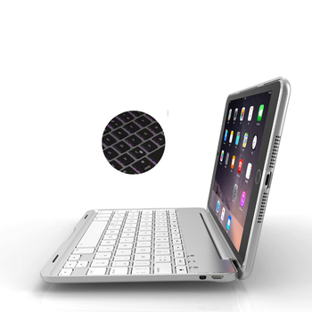 2017 top quality new arrivals portable mini aluminum 7 colors backlit bluetooth keyboard stand for ipad air2 pro9 7 for s7 edge 5.1 Wireless Bluetooth  Keyboard  Aluminum For iPad mini 4/5, Metal hard case+Intellgent Switch on/off+ 7 colors backlight