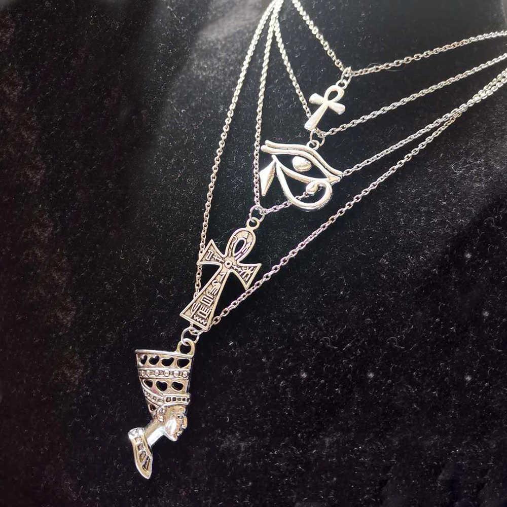 Layered Collana Donne Egyption Egitto Occhio Di Horus Queen Faraone Ankh Croce Collana Pendente Amuleto Africano A Più Strati Dei Monili