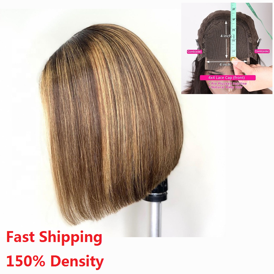 Haever 4x4 Lace Closure Wig Highlight Wig Ombre Brown Honey Blonde Short Bob Wig Human Hair Wigs Brazilian Remy Hair Pre-Plucked