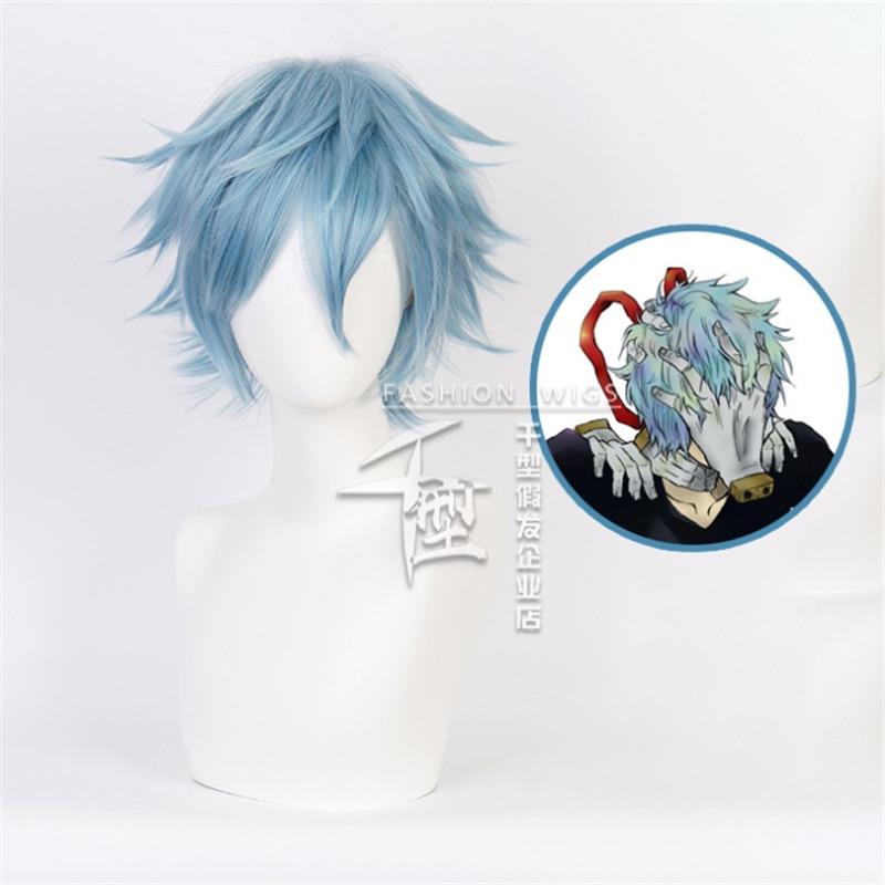 Meu herói academia cosplay perucas shigaraki tomura peruca azul baku nenhum herói midoriya shoto lutador cosplay perucas 35cm