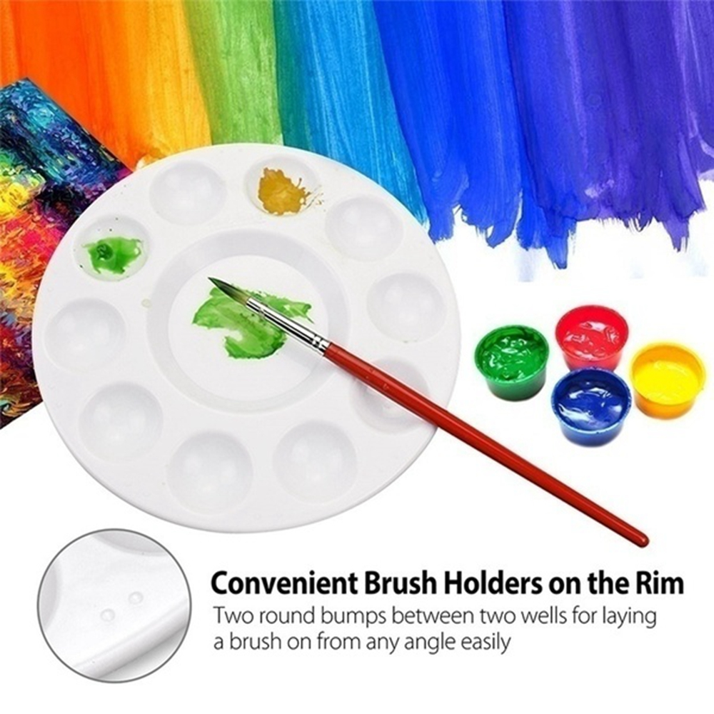 2x Artist Round Paint Palette Tray Draw Craft Watercolor 10 Well Art Accessories