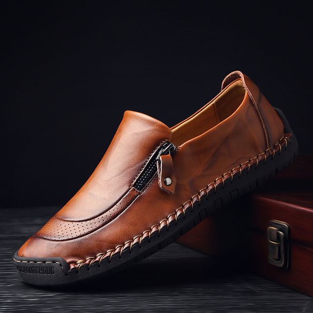 Nowe ręcznie robione męskie skórzane buty oddychające buty na co dzień mężczyźni antypoślizgowe mokasyny jazdy obuwie Chaussure Homme Cuir Plus Size38 48