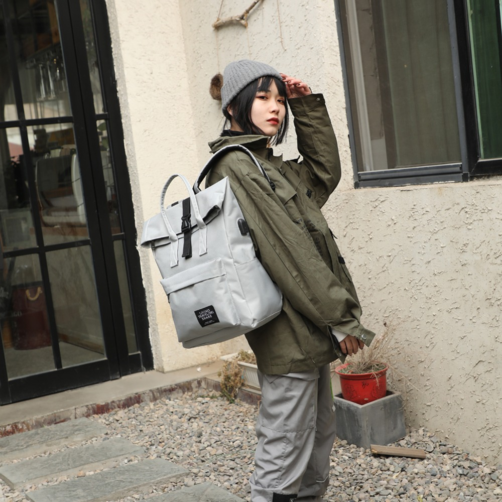 Mulheres carga usb externo mochila lona masculino