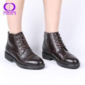 Image 2 - AIMEIGAO/женские ботильоны на шнуровке, короткие теплые плюшевые туфли на молнии, удобные женские туфли на низком каблуке, осень весна