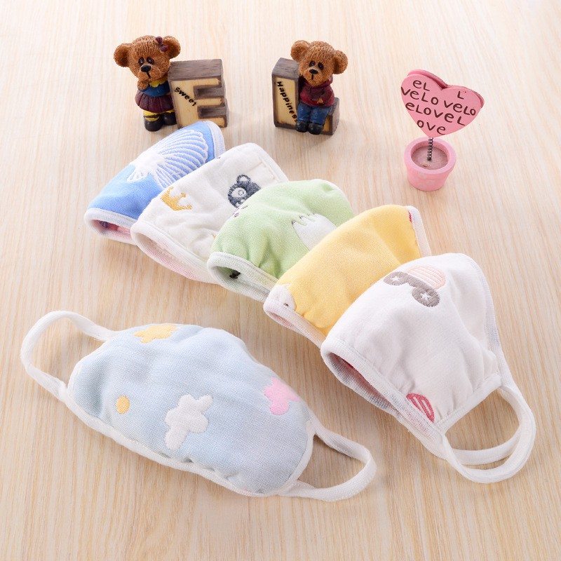 1 PC Children 6 Layers  Masks Cotton Gauze To Keep Warm Baby Care Set Cartoon Cute Anti-Dust Mouth Face Mask For Kids