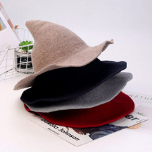 Hot Women Modern Witch Hat Foldable Costume Sharp Pointed Wool Felt Halloween Party Hats Warm Autumn Winter Cap 9.5
