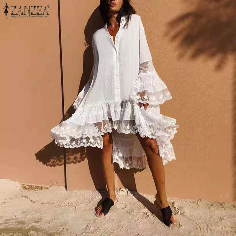 Bohemian Women Lace Pacthwork Sundress ZANZEA Summer Flare Sleeve Ruffles Hem Beach Dress Casual V Neck Buttons Party Vestido