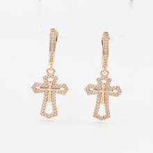 Vik Dolly New Luxury Wedding Earrings Women's Fashion Party Accessories 585 Rose Gold Golden Micro Wax Inlaid Natural Zircon Dro(China)