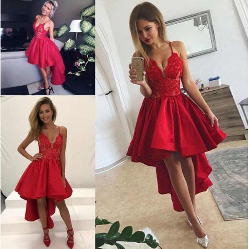 אדום אפליקציות תחרה ספגטי רצועה גבוהה נמוך קוקטייל שמלות פשוט ללא שרוולים עם צווארון באורך הברך המפלגה שמלת коктейльное платье