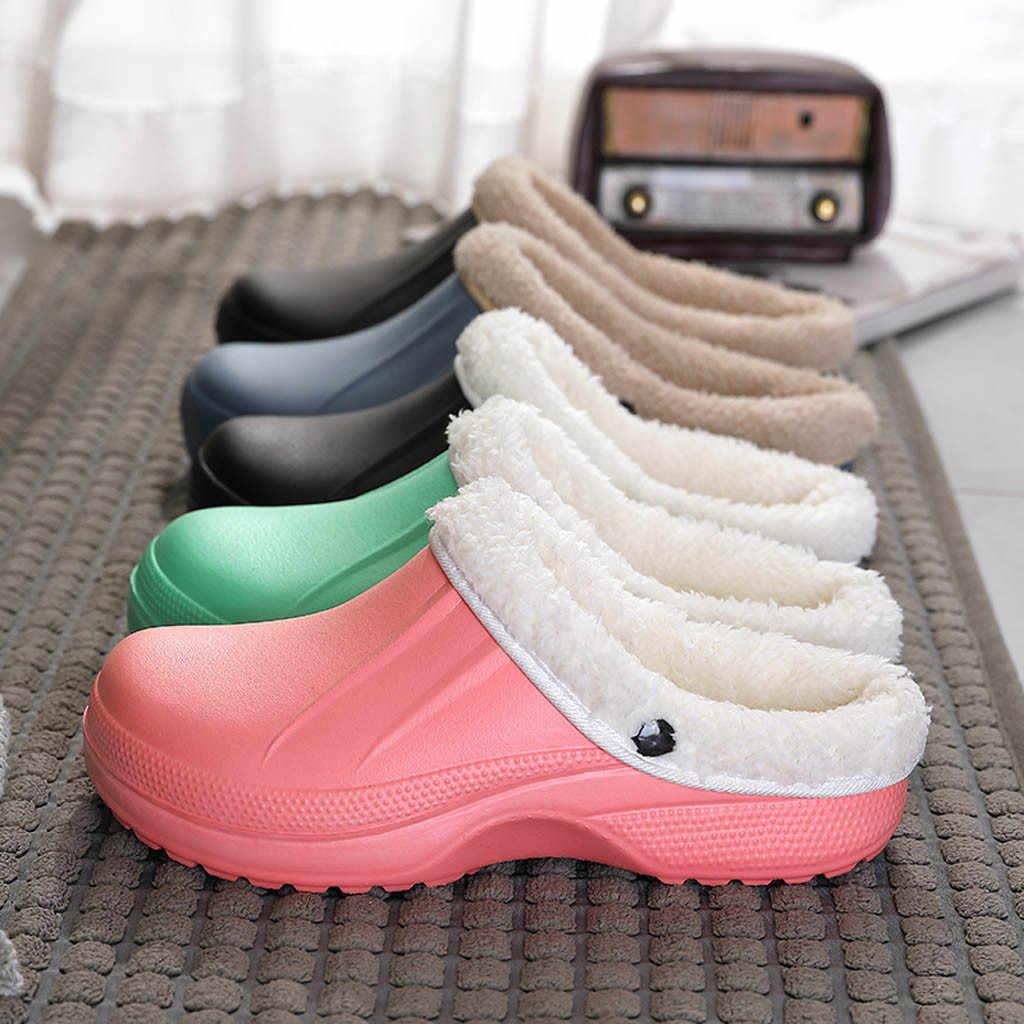 Zapatos hombres 2020 primavera invierno nuevas zapatillas Unisex forradas calientes casa impermeable interior y exterior jardín zapatos invierno zapatillas # N19