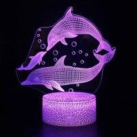 Riss basis Delphin 3D Lampe LED USB Kreative 3d nachtlicht 7 Farbe Ändern Acryl Remote Touch Schalter schlafzimmer Schreibtisch lampe
