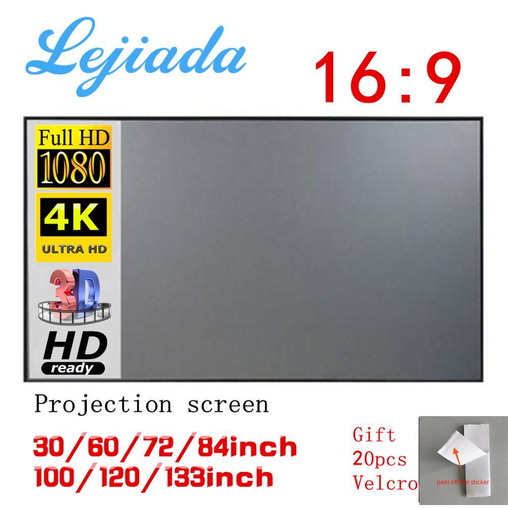 LEJIADA-proyector simple antiluz para el hogar y la Oficina, pantalla portátil 3d HD, 60 72 84 100 120 pulgadas
