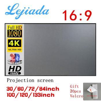 LEJIADA projektor prosta zasłona ekran anty-lekki 60 72 84 100 120 cali home outdoor office przenośny projektor HD 3d tanie i dobre opinie Przenośny ekran Biały matowy