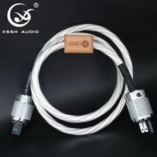 XSSHเสียงAmerican Audio CDเครื่องขยายเสียงAmp 14มม.7 Core 15AWGเงินUS EU IEC 3 Pins 2 pinsรูปIECสายไฟ